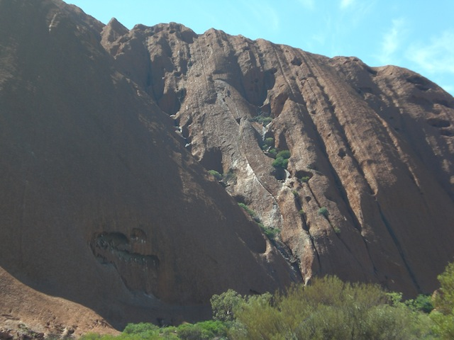 Uluru in mid-morning light.