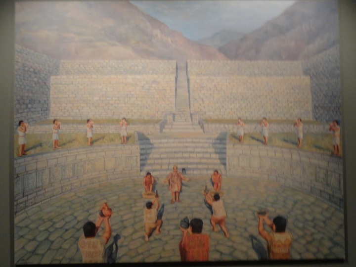Artistic impression of the worship in the Main Plaza in front of the old Temple.