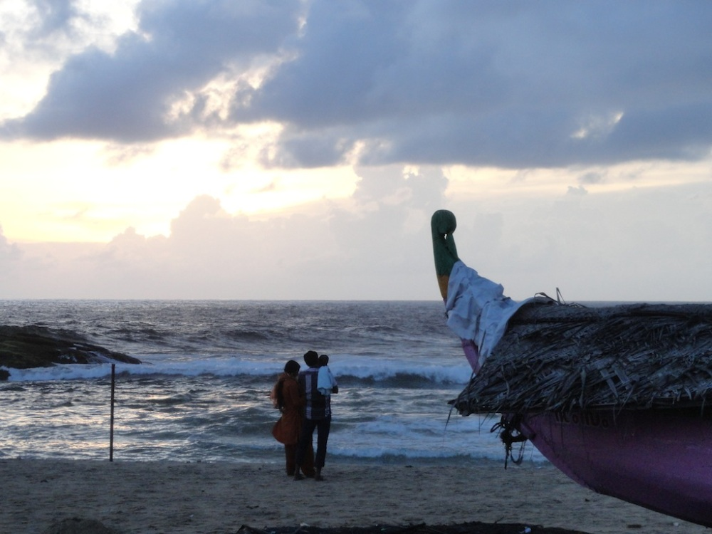 A family at sunset, Kovalam Beach