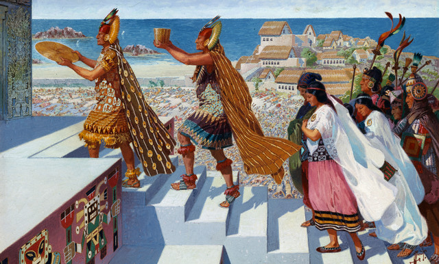 Worshippers climb the steps of the Temple of Pachacamac. Image by © National Geographic Society/Corbis