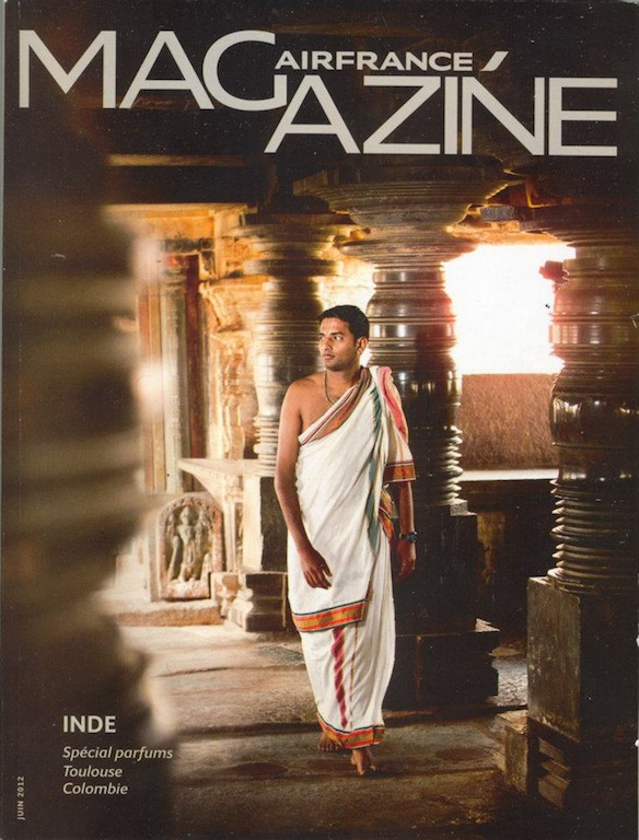Air France inflight magazine cover of a Karnataka Hindu priest.