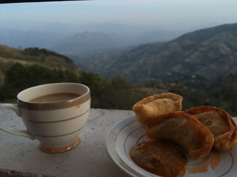 Tea and momos overlooking Nagarkot