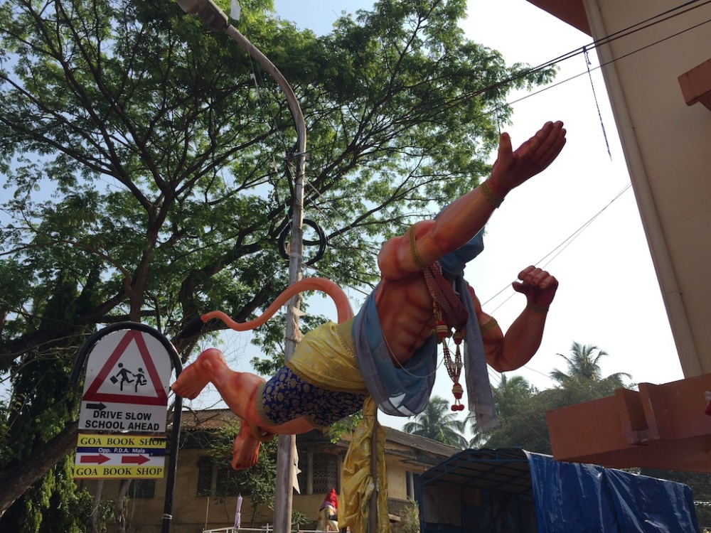 A flying Hanuman in the streets of Goa!